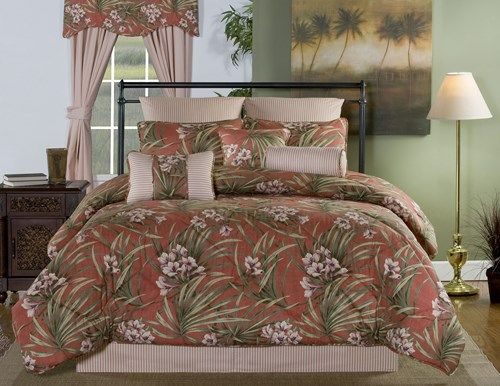 Jekyll Island Red And Green Palm Leaf Bedding By Victor