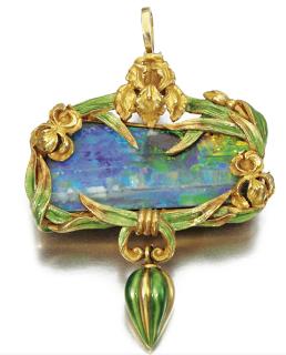 Marcus & Co gold, enamel and opal pendant circa 1900 Art Nouveau