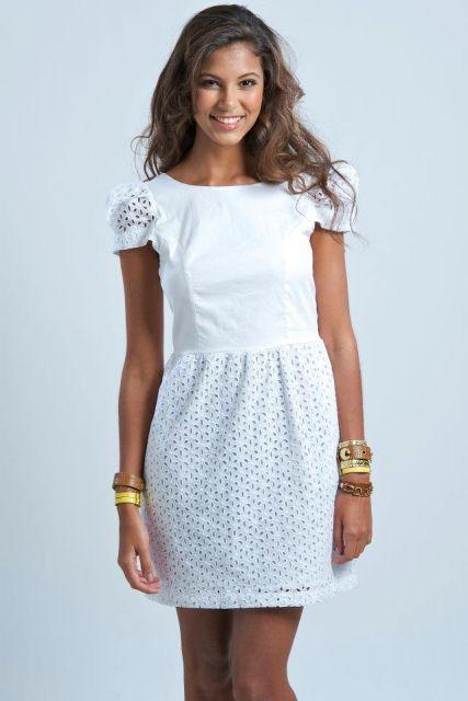 b3f964e46 vestido de lese branco casual | Costura em 2019 | Dress skirt ...