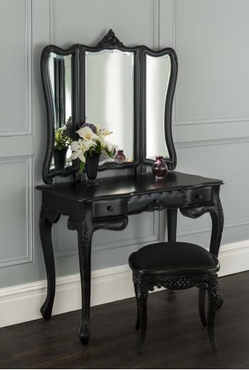 small black vanity table. La Rochelle Black Antique French Dressing Table Set  Luxury