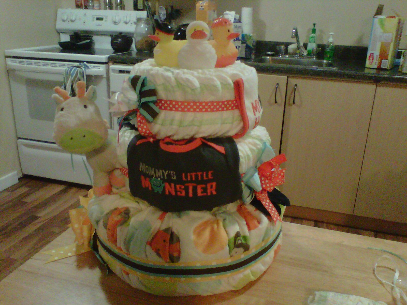 front of diaper cake-halloween themed baby shower. first diaper cake