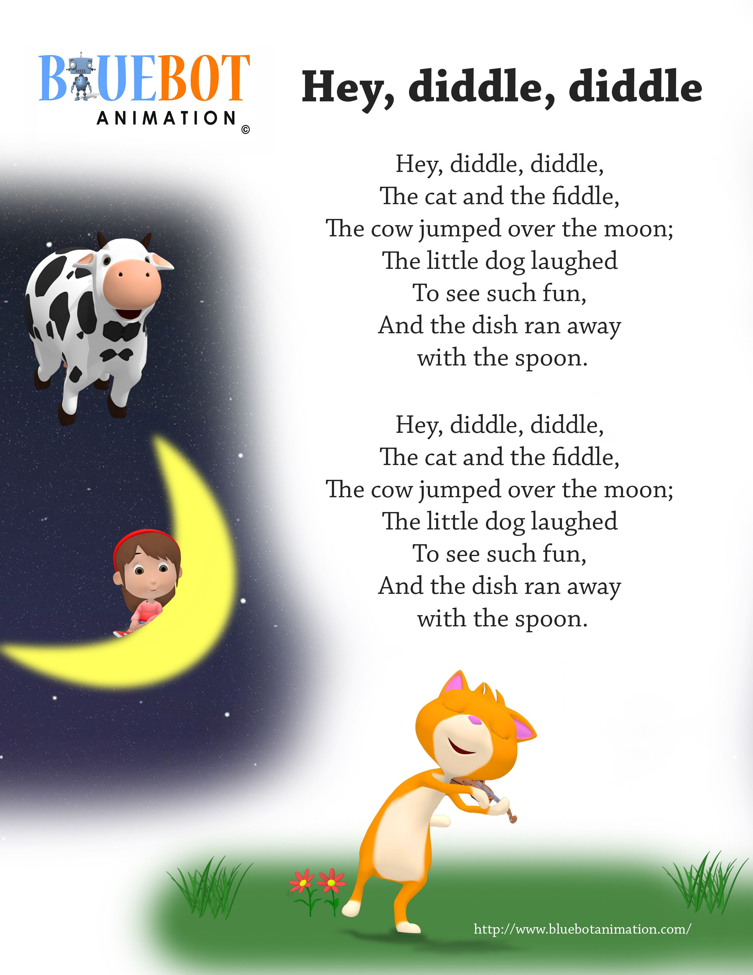 Free printable nursery rhyme lyrics page. , Hey diddle