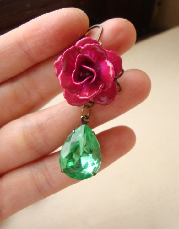 Bright Peridot Green Rhinestone and Fuschia Rose by luxedeluxe, $36.00