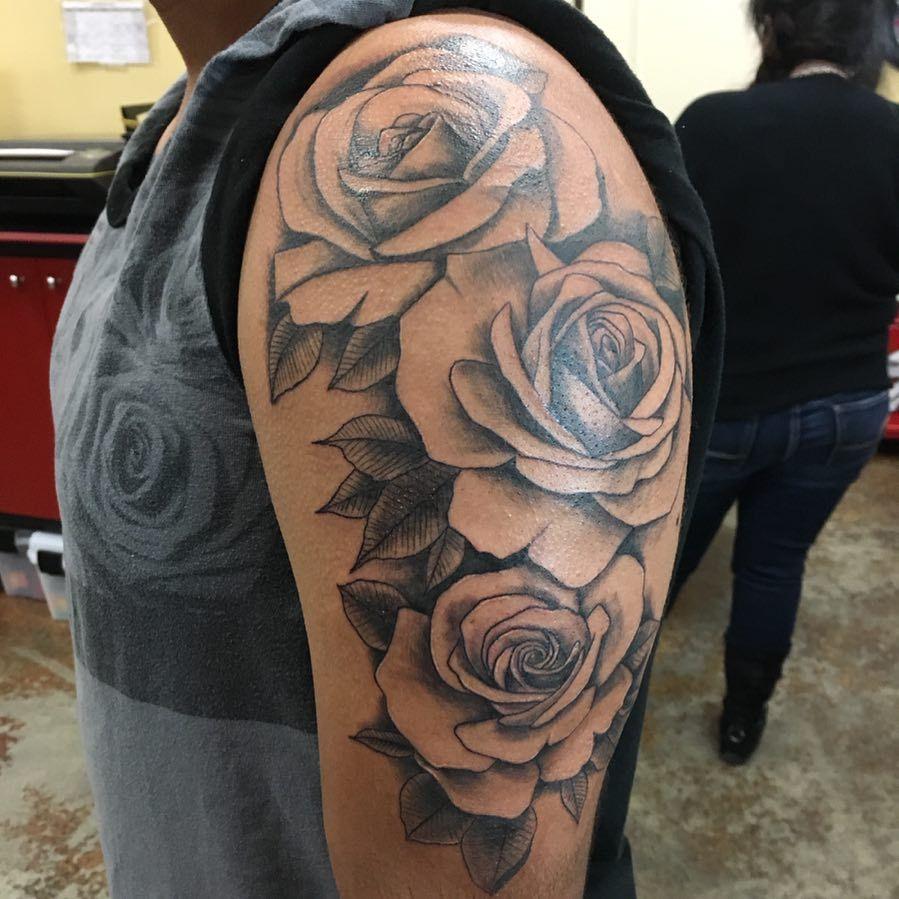 Sara Hadskey Tattoos Fun Rose Half Sleeve Half Sleeve Tattoo Half Sleeve Rose Tattoo Tattoos For Women Half Sleeve