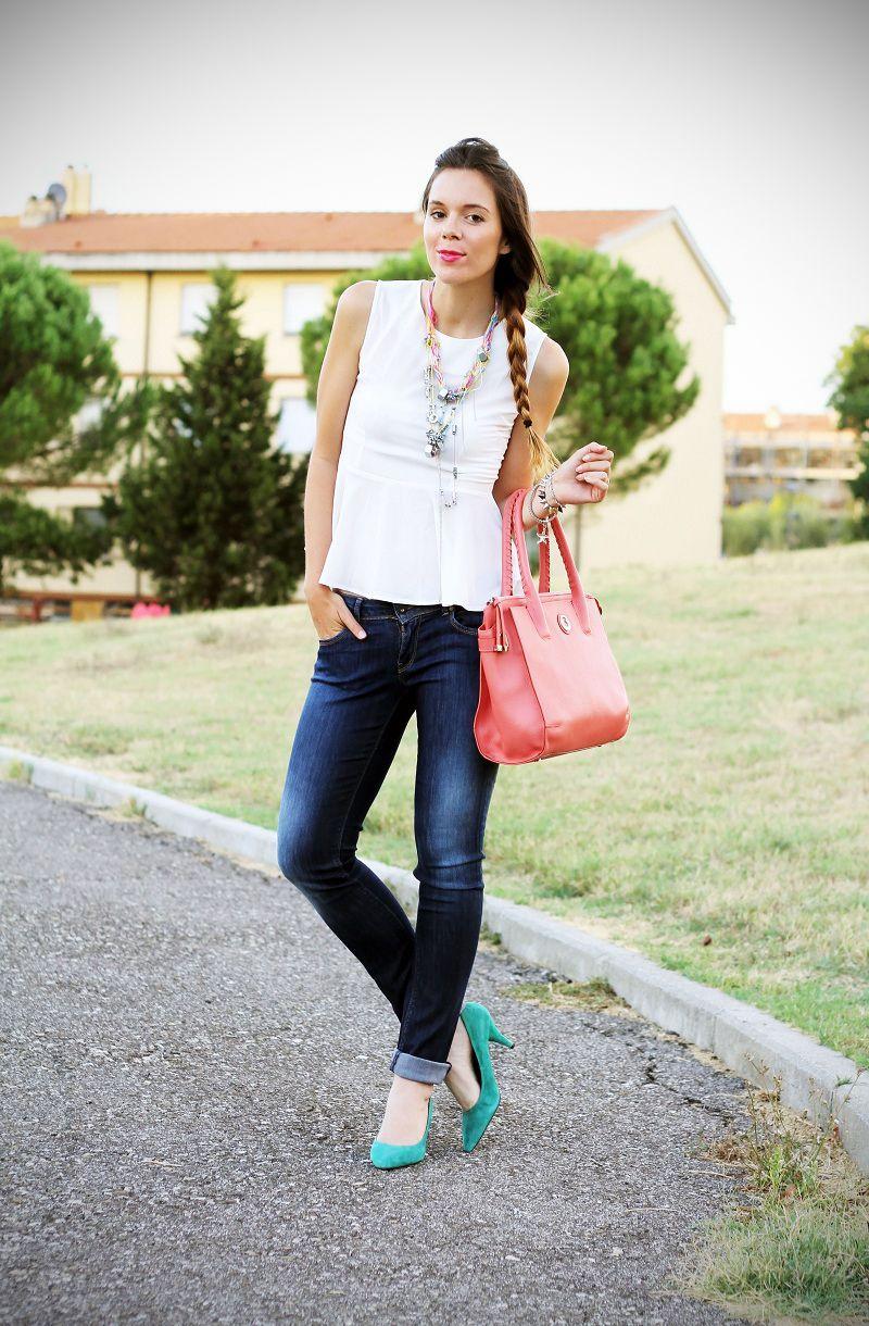 Skinny jeans denim peplum pink collana necklace diy