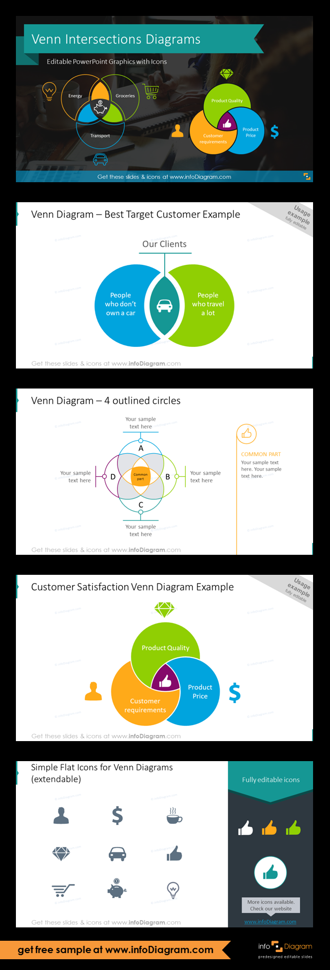 The Venn Intersecting Diagrams Template Includes Set Of Modern Outline And Flat Icons You Can Use