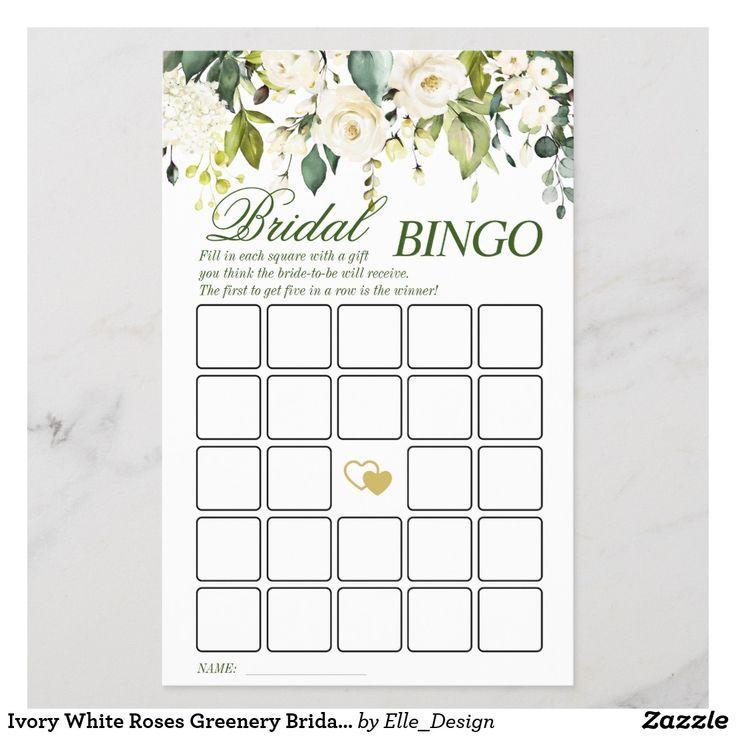 Elfenbein White Roses Greenery Bridal Shower Spiel | Zazzle - #Bridal #Elfenbein #greenery #roses #Shower #Spiel #White #Zazzle #brautblume