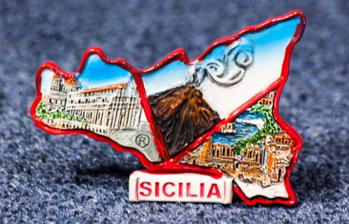 Resin Fridge Magnet: Italy. Sicily 3D Map (Collage, Type 1)