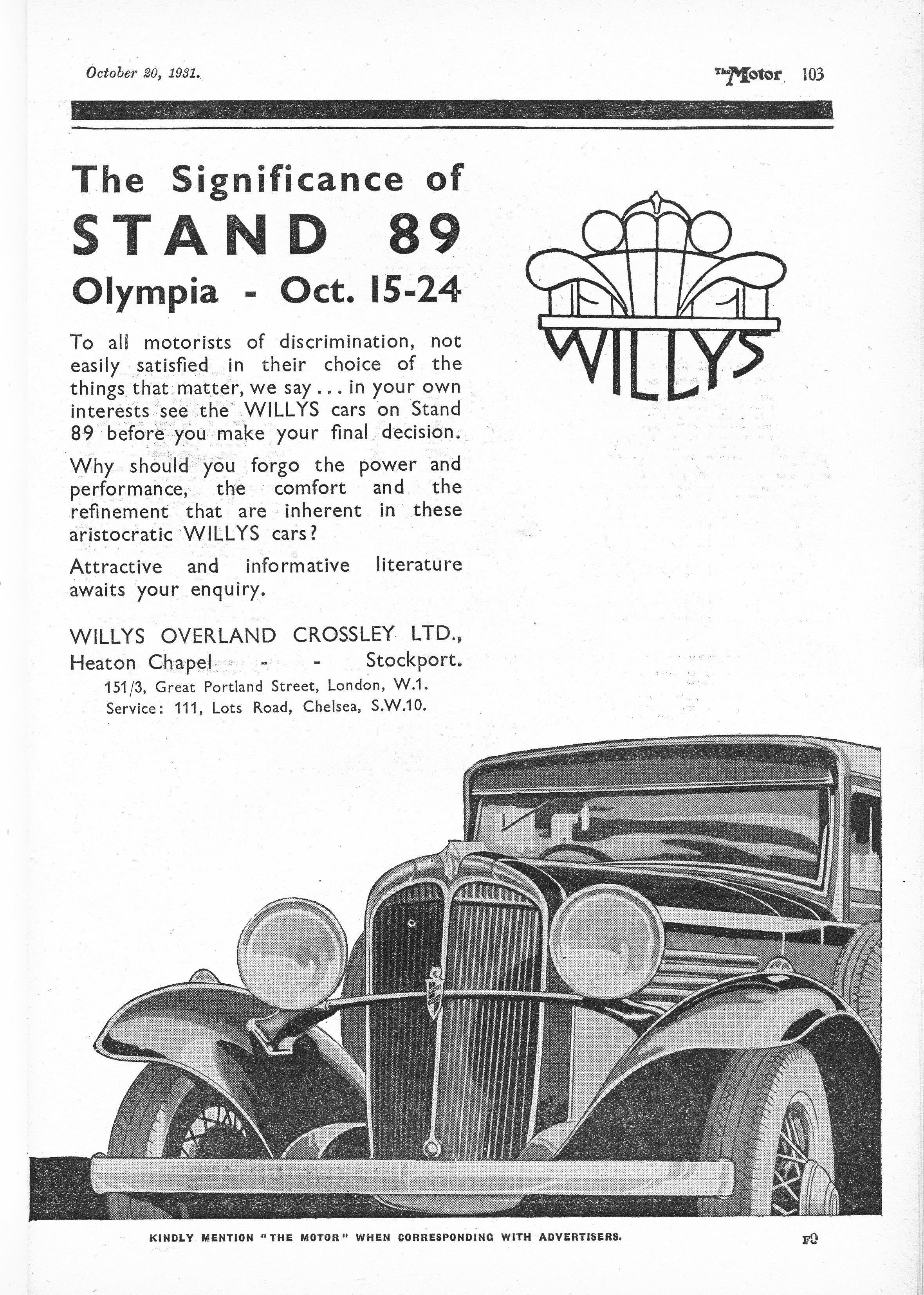 Willys Saloon Motor Car Autocar Advert 1931 Starye Plakaty Plakat