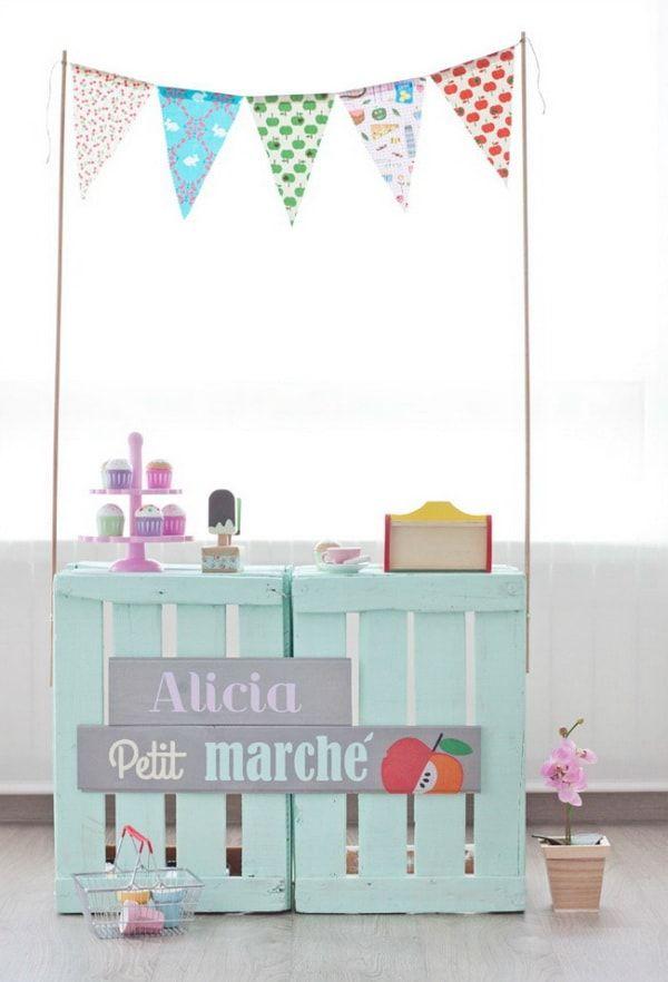 decoracin infantil con palets y cajas de madera