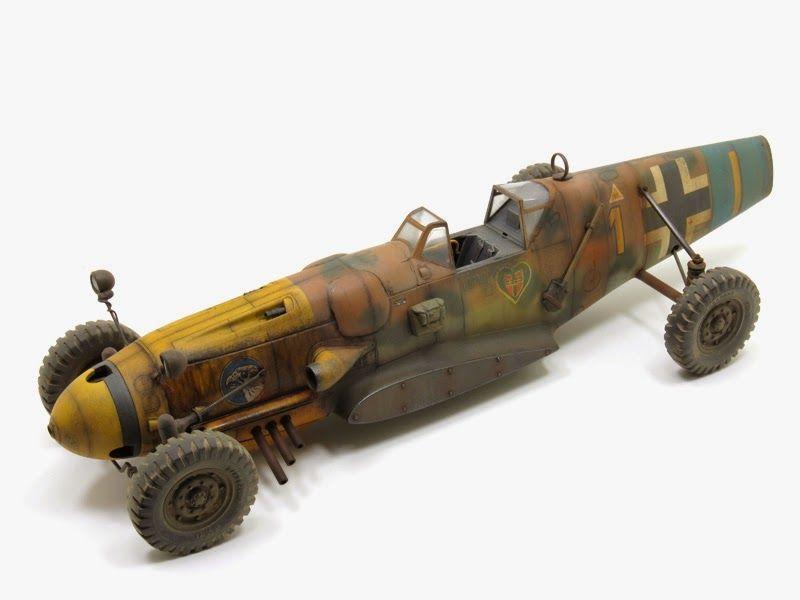 Scale Model Dieselpunk Racer Vehicle Titled