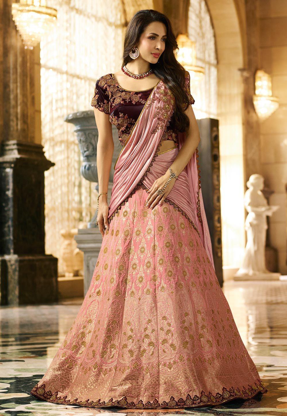 caa5676f4f Buy Malaika Arora Light Pink Banarasi Silk Bollywood Lehenga Choli 153908  online at best price from vast collection of Lehenga Choli and Chaniya Choli  at ...