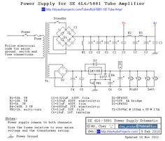 power supply schematic for 6l6 5881 single ended (se) tube amp tube amplifier schematic diagrams power supply schematic for 6l6 5881 single ended (se) tube amp
