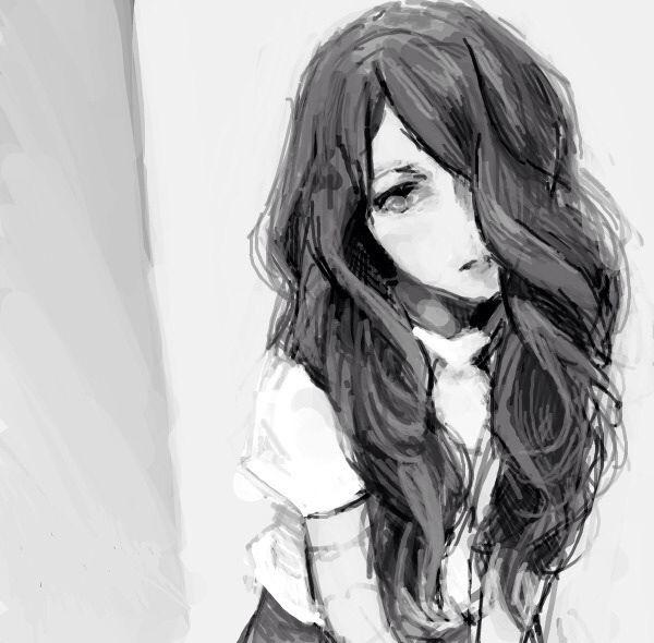 black and white anime girl monochrome
