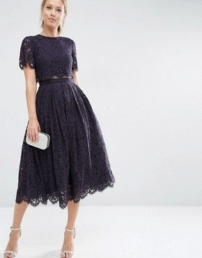 Asos Lace Crop Top Midi Prom Dress Mit Bildern Kleider Fur Hochzeitsgaste Kleider Hochzeit Hochzeit Kleidung