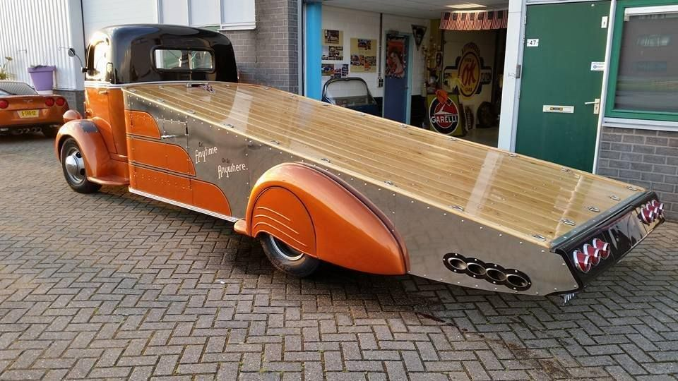 Angled car hauler built from a vintage COE truck with amazing bed ...