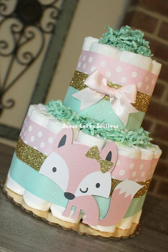 2 Tier Pink Mint And Gold Fox Diaper Cake, Baby Girl Fox Baby Shower, Girls  Woodland Diaper Cake, Coral Fox Baby Shower, Fox Shower Decor