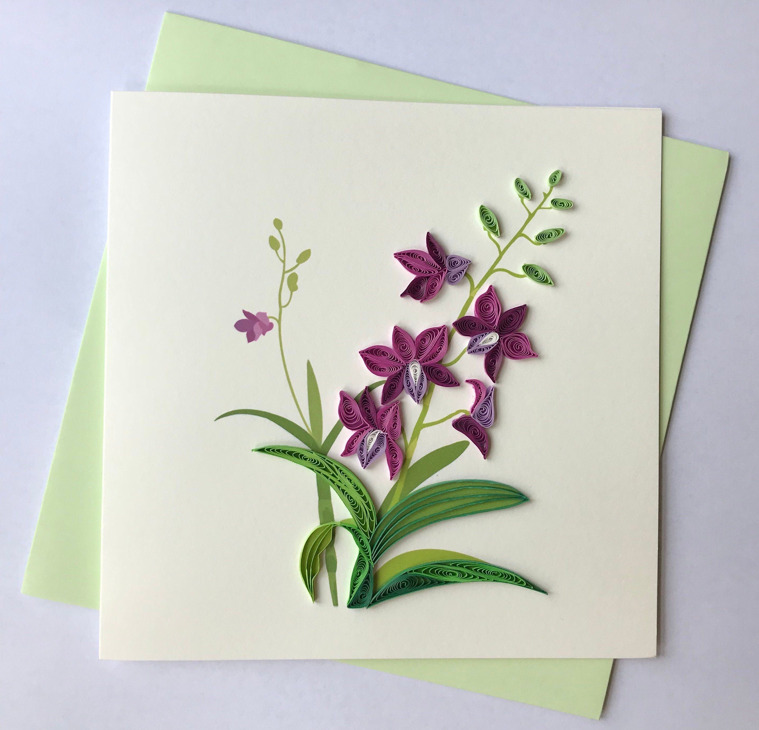 Orchid Greeting Card, Quilling Greeting Card, handmade greeting