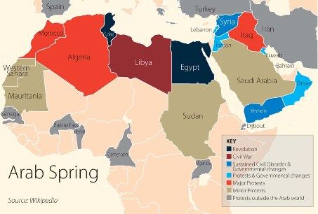 the map show the areas that the arab spring history figures