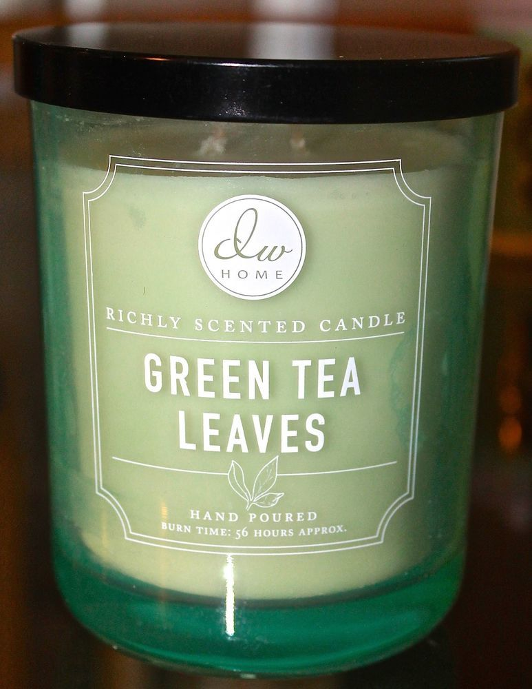 Dw Home Inc Green Tea Leaves Candle 2 Wick Glass Jar Ball New Soy