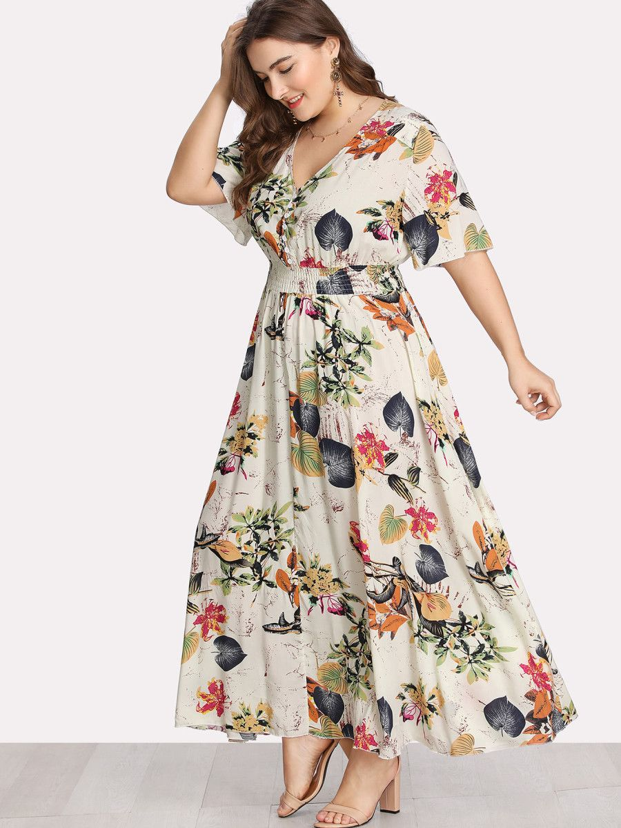 cfd5cedbae Shop Button Front Shirred Waist Tropical Dress online. SheIn offers Button  Front Shirred Waist Tropical Dress & more to fit your fashionable needs.