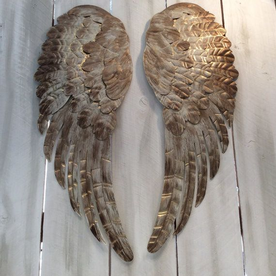 Large Metal Angel Wings Wall Decor Distressed By