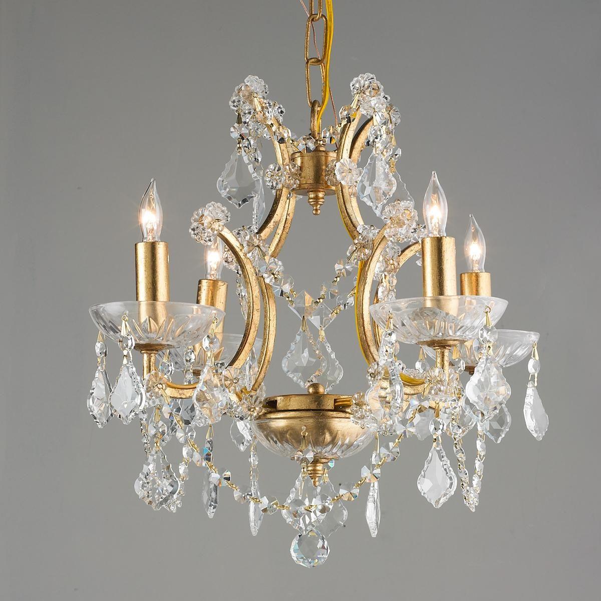 Gold leaf and crystal mini chandelier mini chandelier powder room gold leaf and crystal mini chandelier arubaitofo Gallery