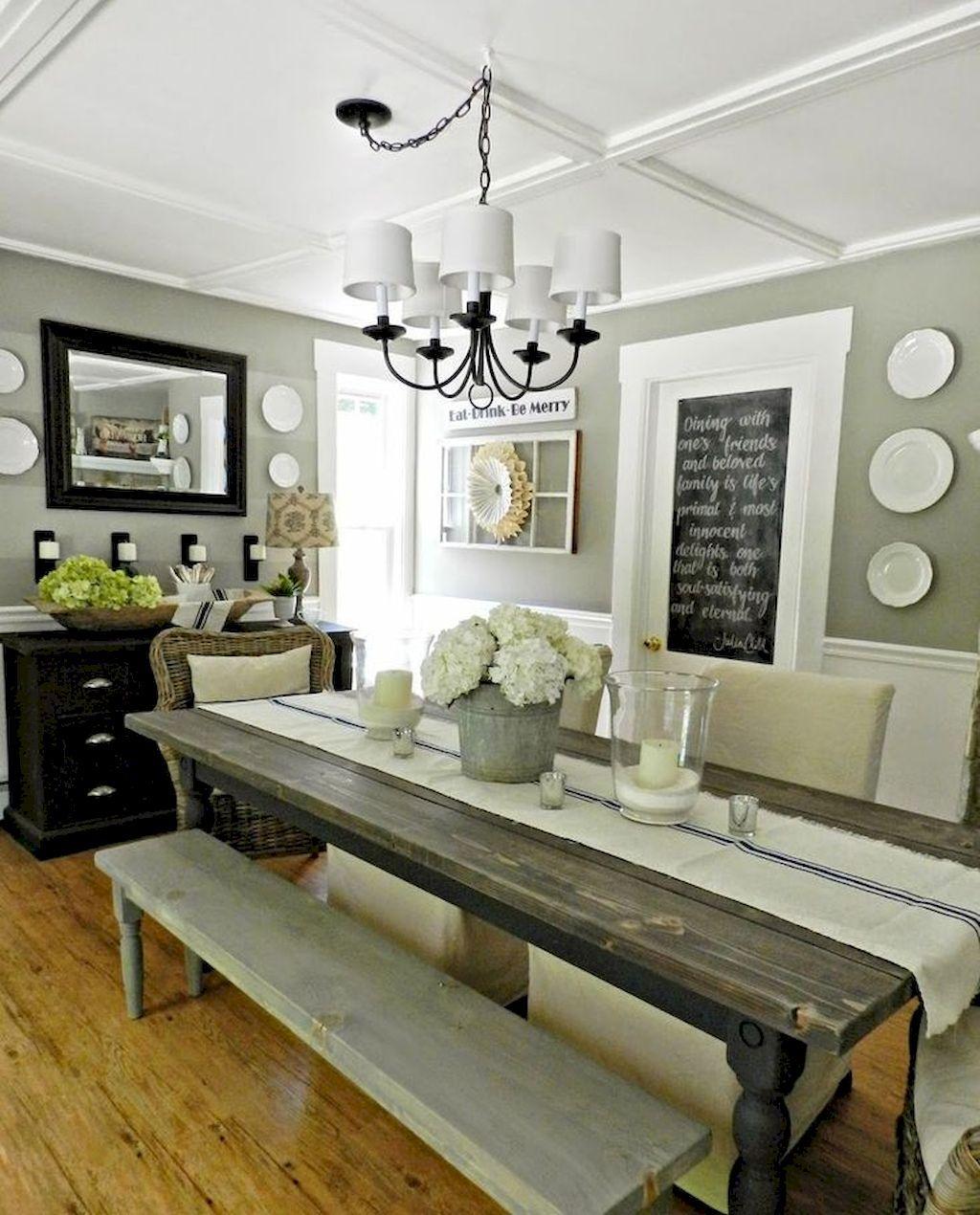 46 Popular Farmhouse Dining Room Design Ideas Trend 2019: 100 Best Farmhouse Dining Room Decor Ideas