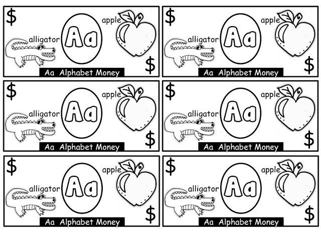 alphabet money print on colored paper or let kids color their own money such a fun way to. Black Bedroom Furniture Sets. Home Design Ideas