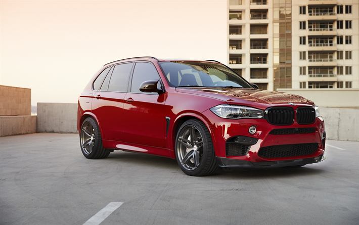 Download Wallpapers BMW X5M 2018 F85 Luxury SUV Red X5 Tuning