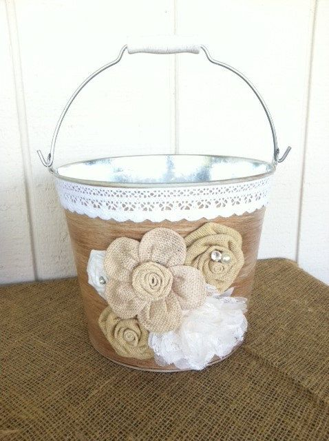 Rustic Wedding Ice Bucket Metal Pail Country Burlap Centerpiece Card Holder On Etsy 29 00