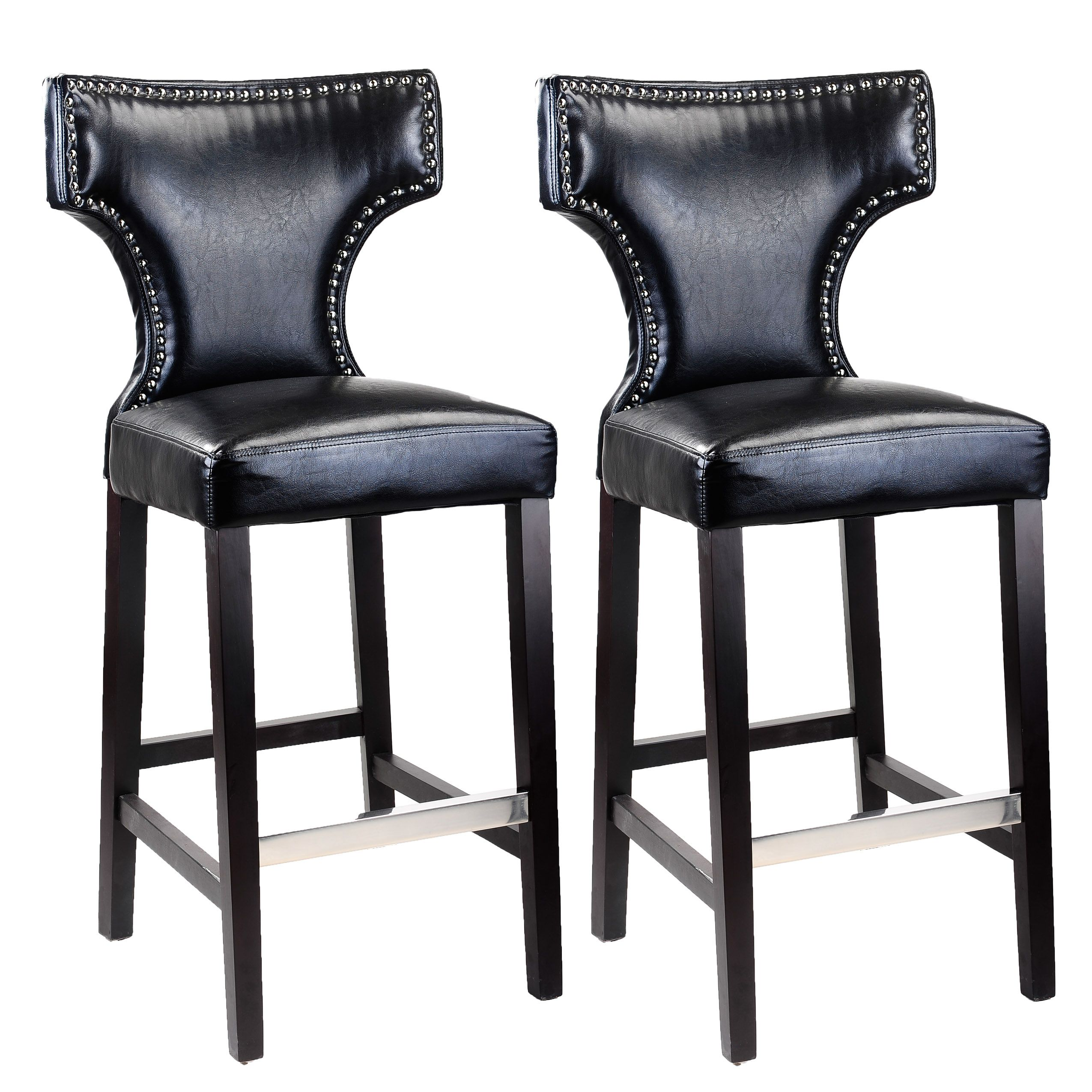 Corliving kings bar height barstool in bonded leather with metal