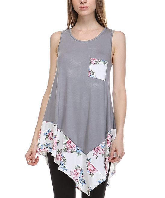 Gray Floral-Accent Handkerchief Tank