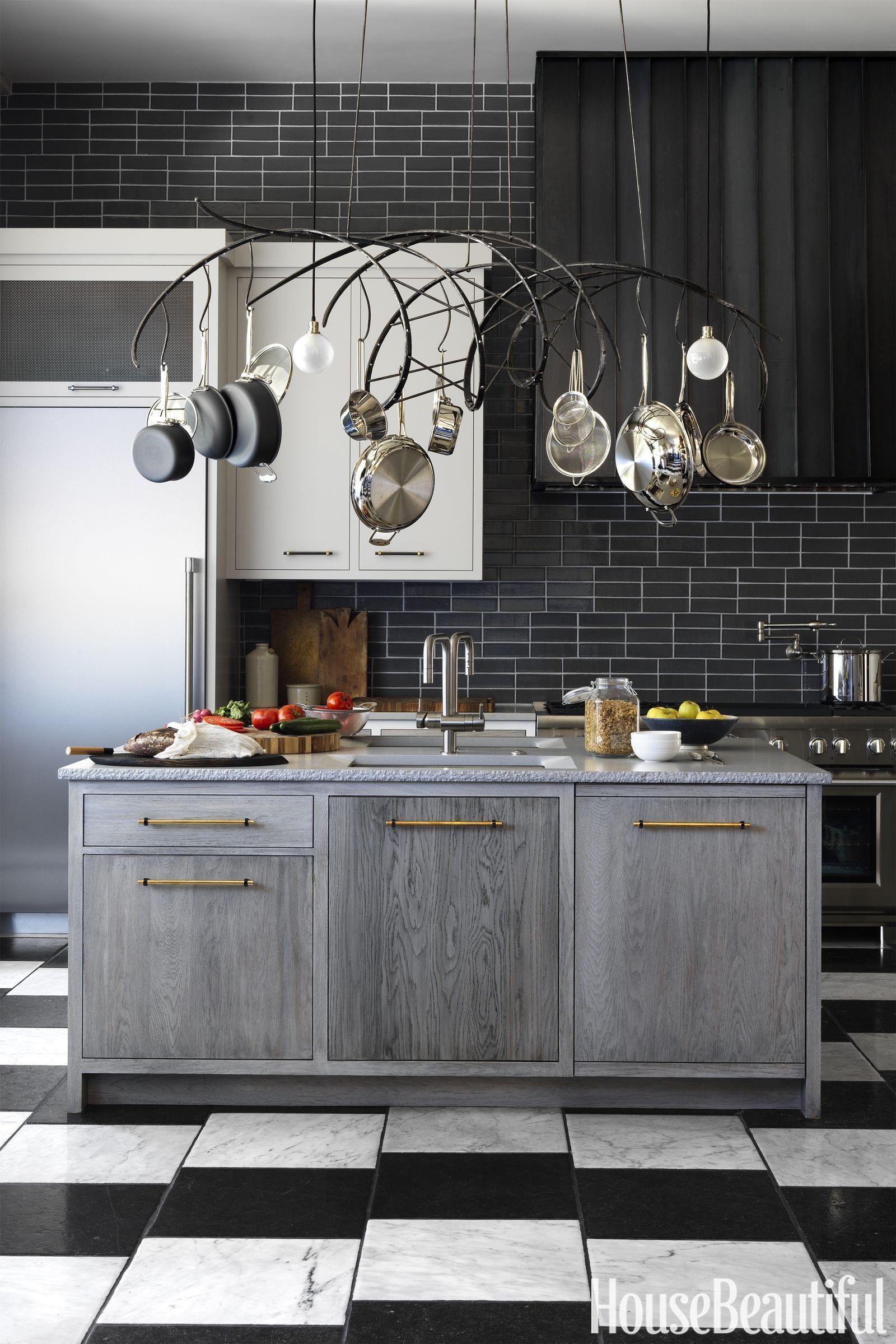 glossy black kitchen backsplash grey oak wood finish island rh pinterest com