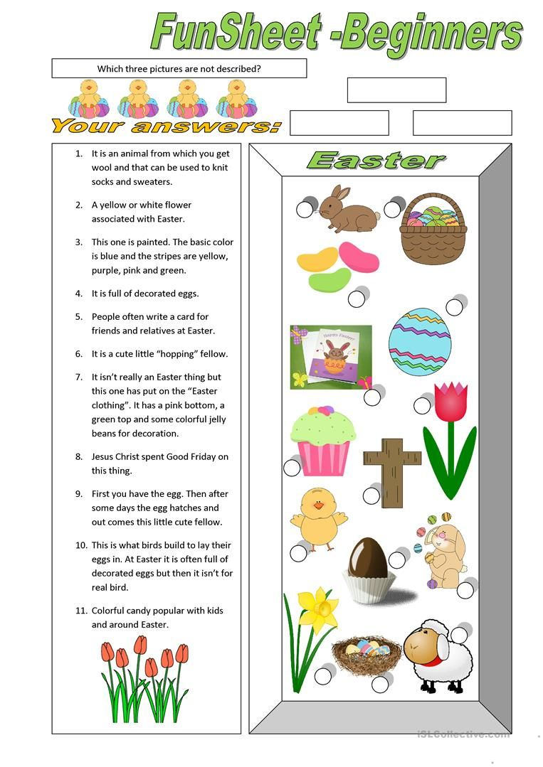 Funsheet For Beginners Easter English Esl Worksheets For Distance Learning And Physical Classrooms Easter Beginners Music Worksheets [ 1079 x 763 Pixel ]