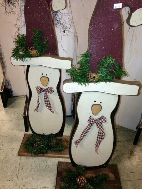 Wood Penguin With Santa Hat Crafts Christmas Wooden