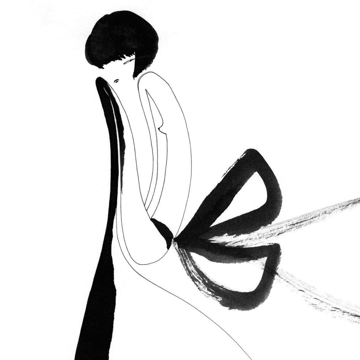 """""""Those Big Bow Days"""" - One Eye Girl  Using a """"one eye girl"""" as a muse, One Eye Girl, the artist alias used by Stephan Beaumont produces clean, graphic work that uses minimal line to capture the essence of the figure and expression."""