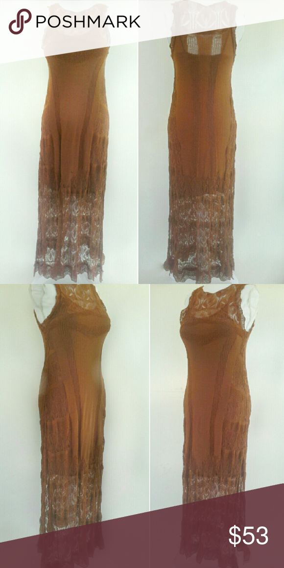 """Free People Mesh/Lace Sheer Maxi, Small S Free People festive maxi boho dress, women's size small S, pre-owned. 66% cotton 34%  nylon sheer lace/mesh fabric, comes w/a matching brown rayon/spandex slip.  Dress is mid-calf to maxi length. Slip is solid brown, has spaghetti straps & hangs to mid-thigh. Dress has snaps to hold the slip straps in place.  20"""" slit up each side of dress. Bust=34"""", 39"""" slightly stretched; waist=34-38"""", hips=38-42"""" and dress is 53"""" long; slip is 35"""" long…"""