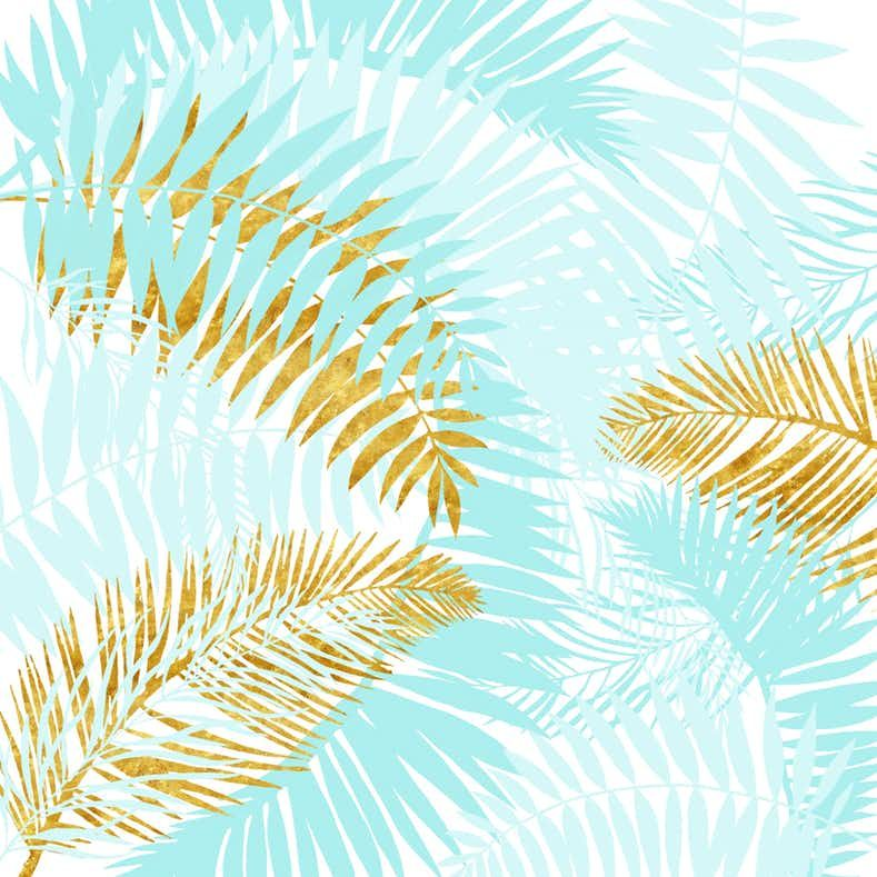 Teal And Gold Palm Leaves Wall Mural Photo Wallpaper Happywall Palm Leaf Wallpaper Golden Wallpaper Custom Tissue Paper