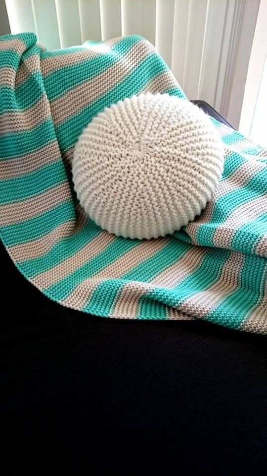 Handmade knitted round throw pillow - pouf. Crochet ...