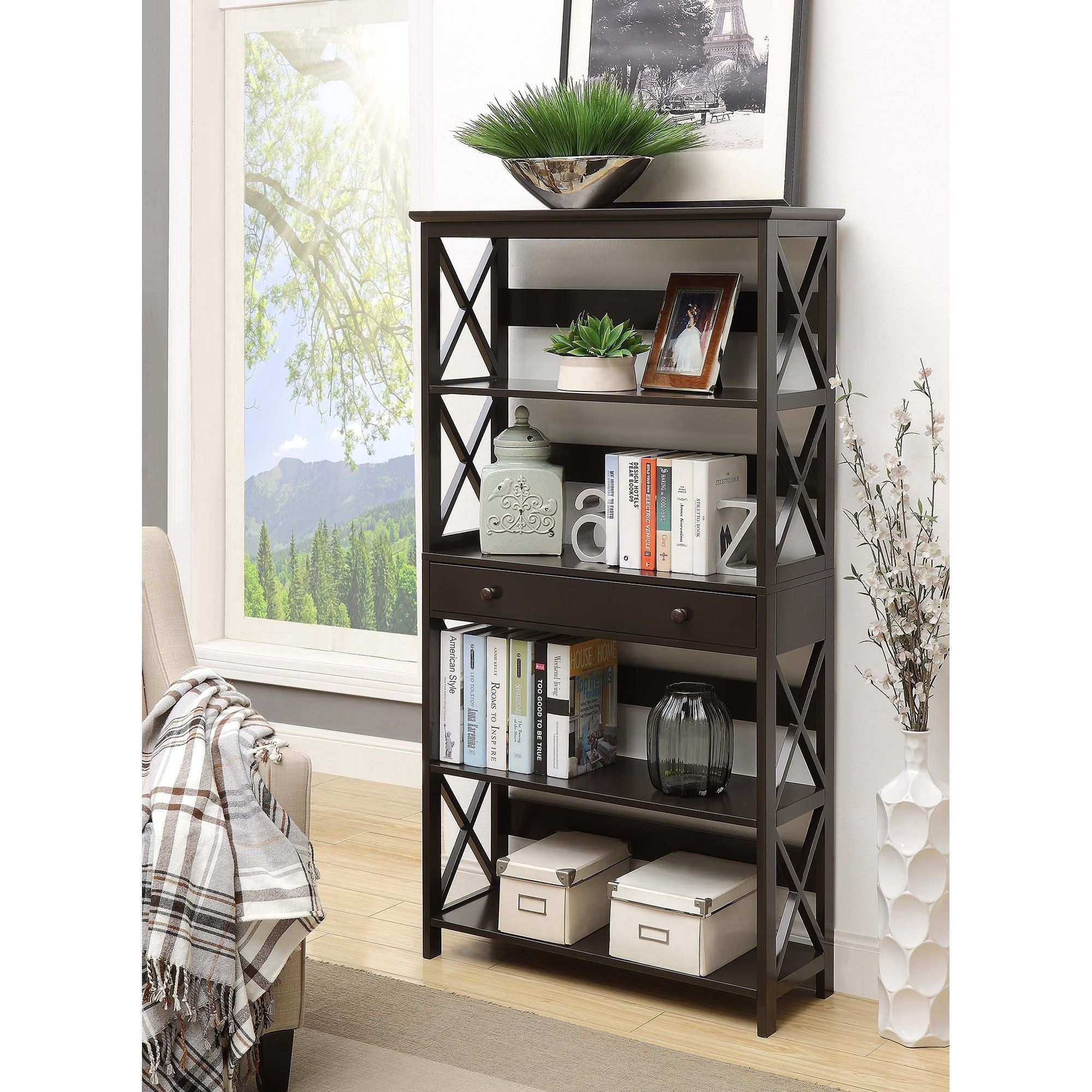Convenience concepts oxford tier bookcase with drawer brown
