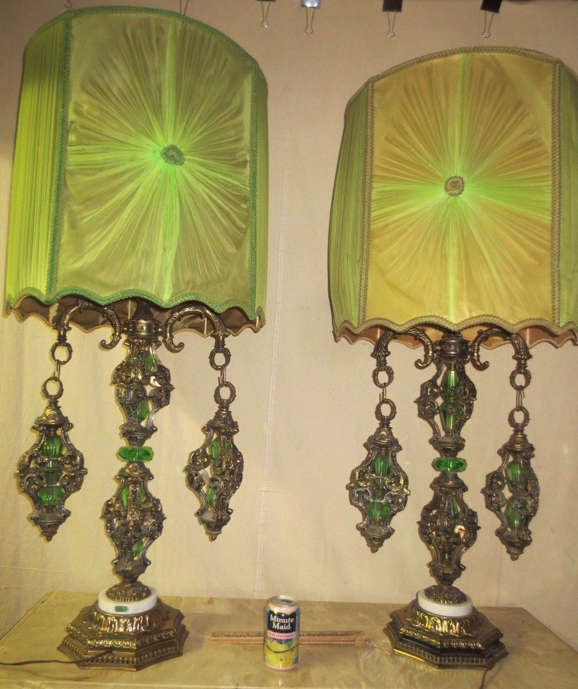 Pair vintage mid century retro mediterranean italian gothic lamps pair vintage mid century retro mediterranean italian gothic lamps shades aloadofball Image collections