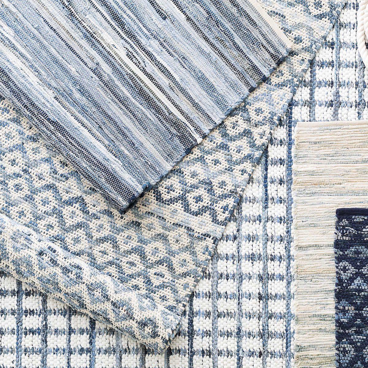 Denim Rag Squares Woven Cotton Rug Dash Albert In 2020 Cotton Rug Denim Rag Rugs Rugs On Carpet