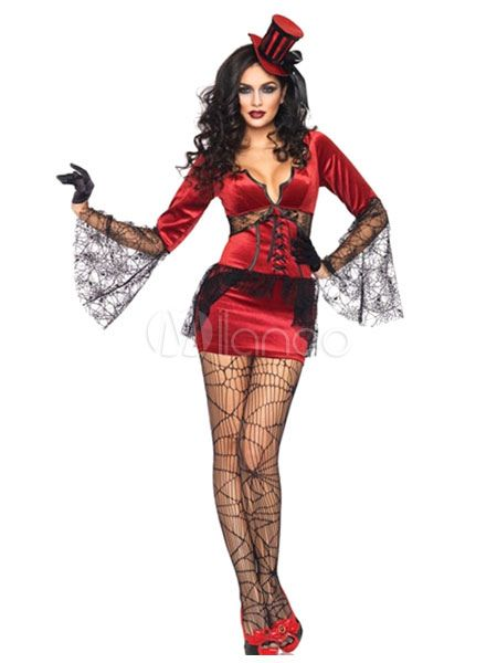 Scary Halloween Costume Red Witch Two Tone Women's Dress With Headpieces Halloween #Costume, #Red, #Scary