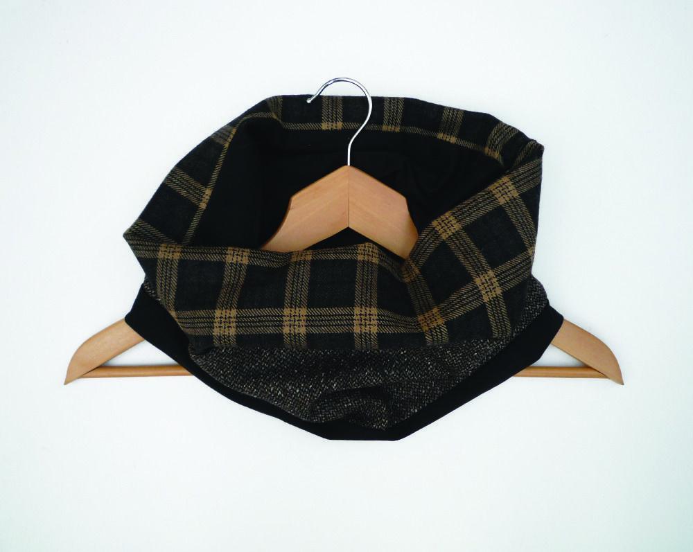 snood homme laine marron noir écossais   Echarpes par lefil   pure ... ea2ba582e47