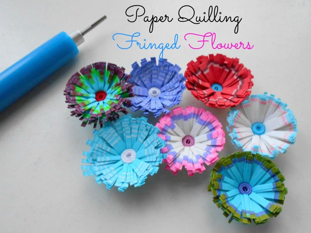 Multicolored Fringed Quilled Flowers Tuto Cards