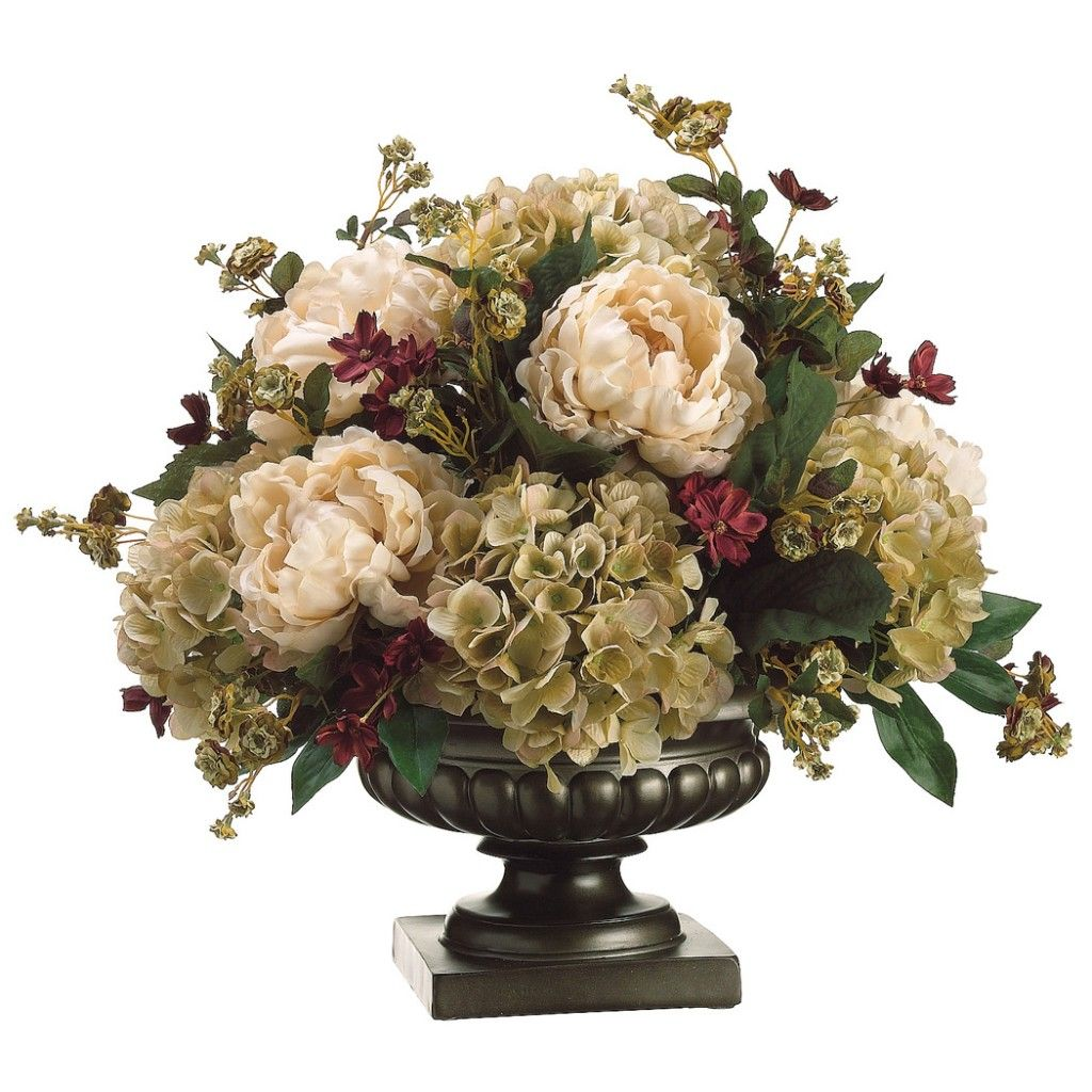 Handcrafted And Standing At 20 H X W L This Tan Moss Peony Hydrangea Pompon Rose Silk Flower Arrangement Is A Joy To Behold