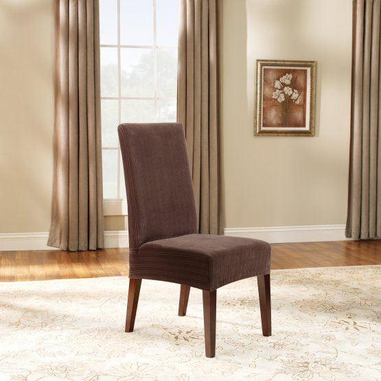 Sure Fit Stretch Pinstripe Short Dining Room Chair Cover  Equilla Awesome Stretch Covers For Dining Room Chairs Design Ideas