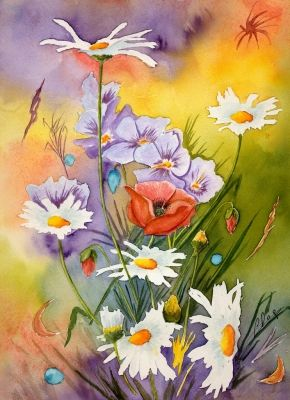 Fleurs Aquarelles Acryliques Pastels Secs Dans Les Champs