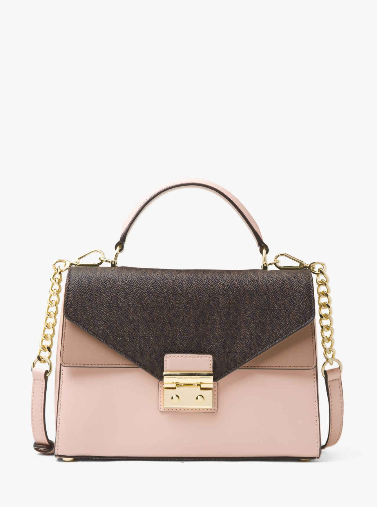 162d77c5c35f Michael Kors Sloan Color-Block Leather And Logo Satchel - Brn/Sfpk/Fwn